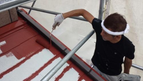下屋根中塗り写真