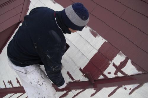 屋根中塗り写真