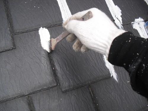 下屋根の下塗り写真